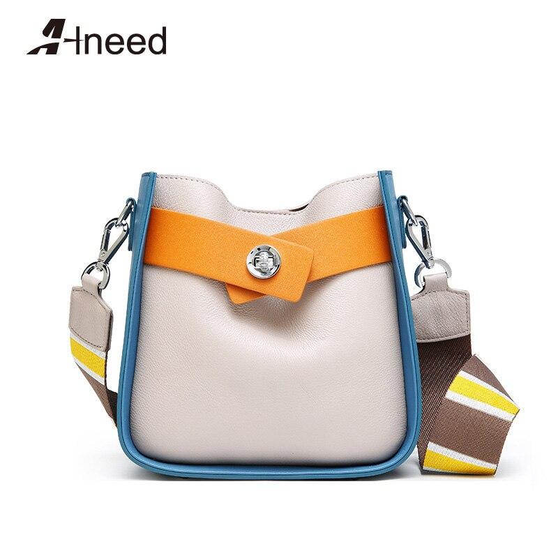 ALNEED из натуральной кожи сумка-мешок для Для женщин 2018 модные сумки из коровьей кожи сумки на плечо роскошные панелями верхней ручки сумки