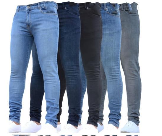 Men Casual Stretch Skinny Jeans Hip Hop Trousers Pants Solid Color Jeans Slim Fit Pencil Pants Jeans Men Clothes 2018 O8R2