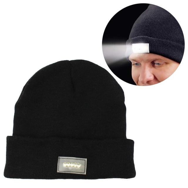 2018 Men Beanies Knit 5 LED Flashlight Hat Boys Thicken Hedging Balaclava  Skullies Fashion Warm light flashing cap Winter Cap 7675db0f9b11