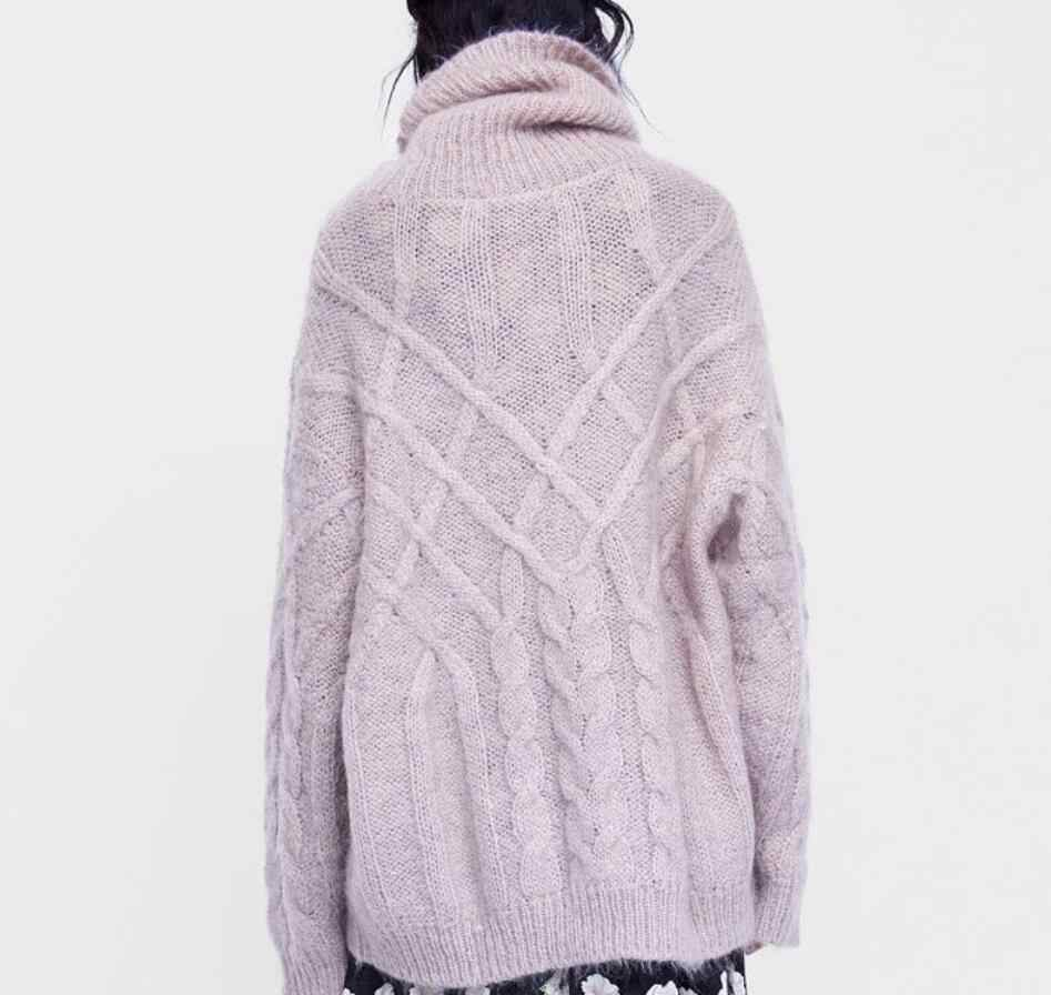 5637b75d63 ... 2019 Winter Women Turtleneck Oversize Knit Sweaters Light Lavender Knit  Vintage Loose Pullovers ...