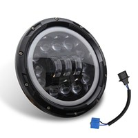 DHBH 7inch 400W Round Black Led Headlight High Low Beam For Jeep Wrangler Jk Tj Lj Cj Hummber