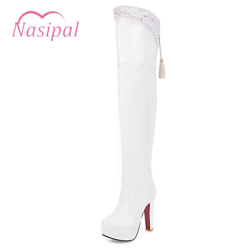 e78f52ee1032b4 Noir blanc Femme Bottine Rond D'hiver rouge Talon Bottes Chaussures Mujer  Femmes Dames Botas Nasipal ...