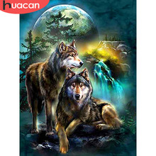 HUACAN Full Square Diamond Painting Wolf Embroidery Wolves Animals Mosaic Sale Pictures With Rhinestones