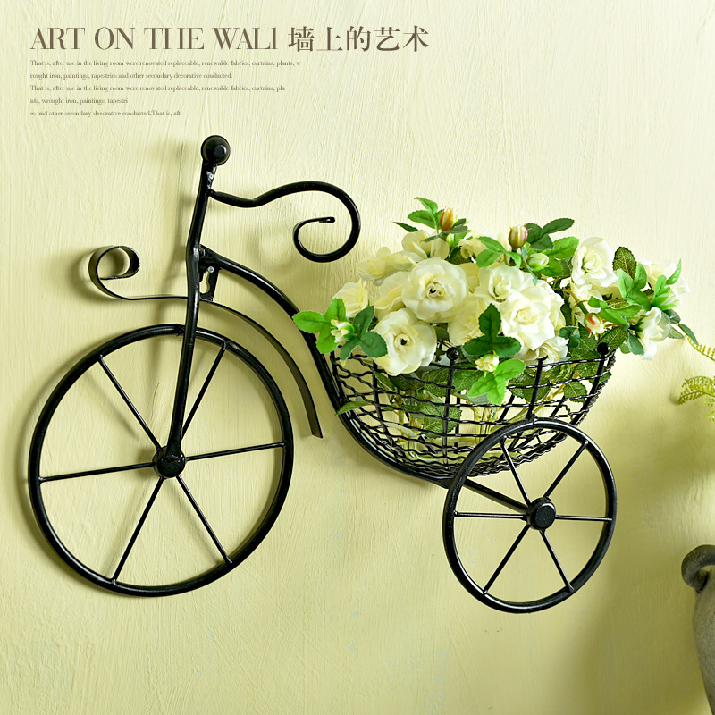 Creative Bicycle European Style Wrought Iron Wall Hanging Flower Rack Living Room Balcony Wall Hanging Flower Basket DecorationsCreative Bicycle European Style Wrought Iron Wall Hanging Flower Rack Living Room Balcony Wall Hanging Flower Basket Decorations