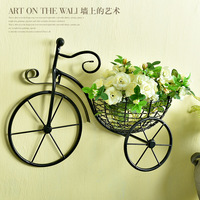 Creative Bicycle European Style Wrought Iron Wall Hanging Flower Rack Living Room Balcony Wall Hanging Flower Basket Decorations