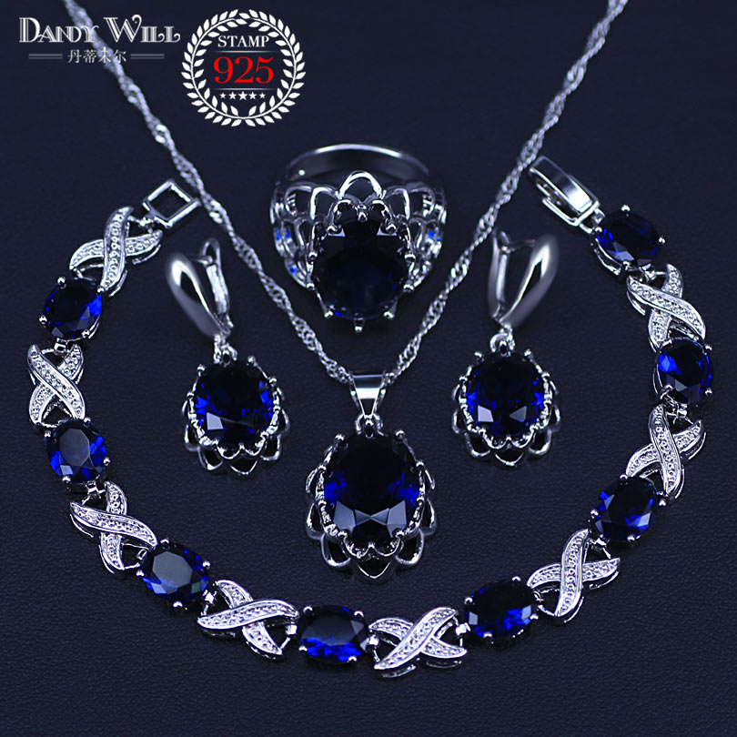 Blue Zircon Bridal Silver 925 Jewelry Sets Women Pendant&Necklace Ring Drop Earrings With Natural Stones Bracelets Jewelry set