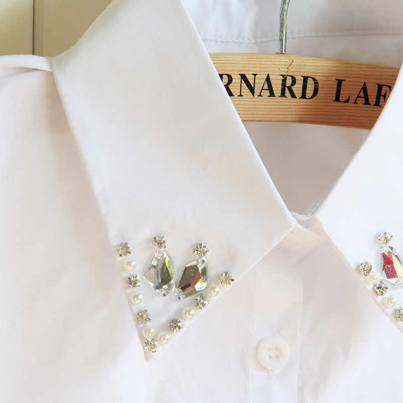 Reine Baumwolle Nagel Perle Dickie Hemd Blei Kristall Falsche Kragen abnehmbare Frauen Abnehmbare Halb Bluse Großhandel