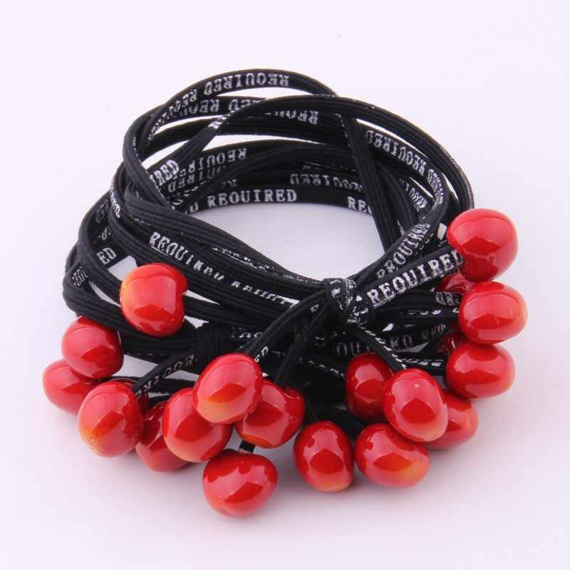 1 PIECES Cute Hair Tie For Girl Red Cherry Charms Elastic Hair Band Letter Print Rubber Band Double Lines Gum Hair Accessories