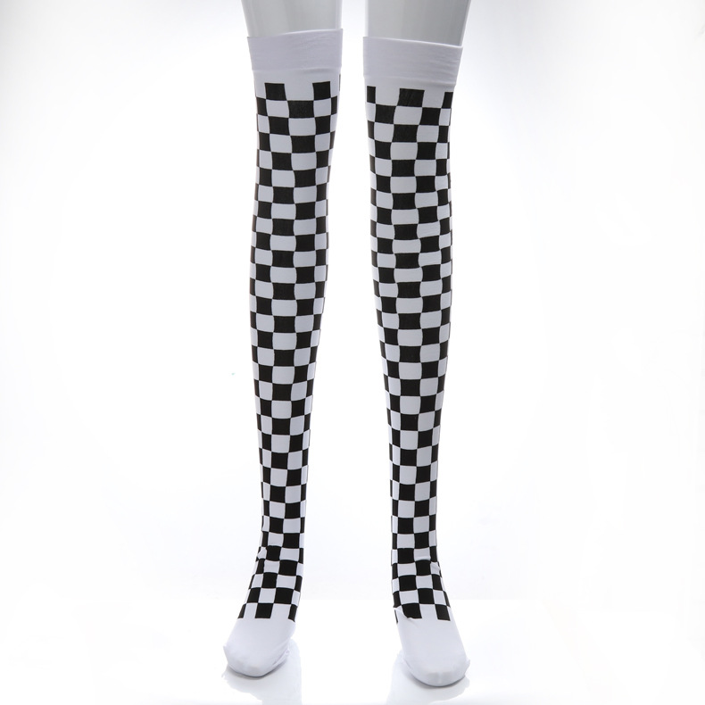 Harlequinn Clown Ladies Over Knee Socks Monochrome Pattern Stripe Checked Long