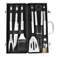 6pcs Stainless Steel BBQ Tool Set Barbecue Cooking Tools Kit with Case