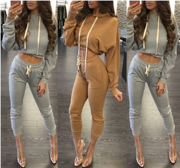 Rebicoo Woman Casual Drawsting Cotton Long Sleeve Suits Short Tops Hoodies Drawsting Pants Botttoms Sexy Suits