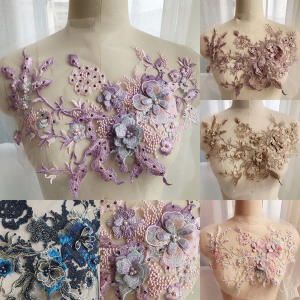 Hot 1pc Lace Bridal Beaded Flowers Embroidery Patches Sticker for Clothes Wedding Decor
