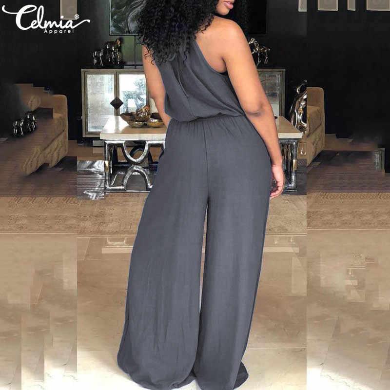 2019 летняя блузка на бретелях, комбинезон для женщин, сексуальный, без рукавов, Повседневный, эластичный пояс, однотонный, длинный комбинезон, широкие брюки, комбинезоны большого размера