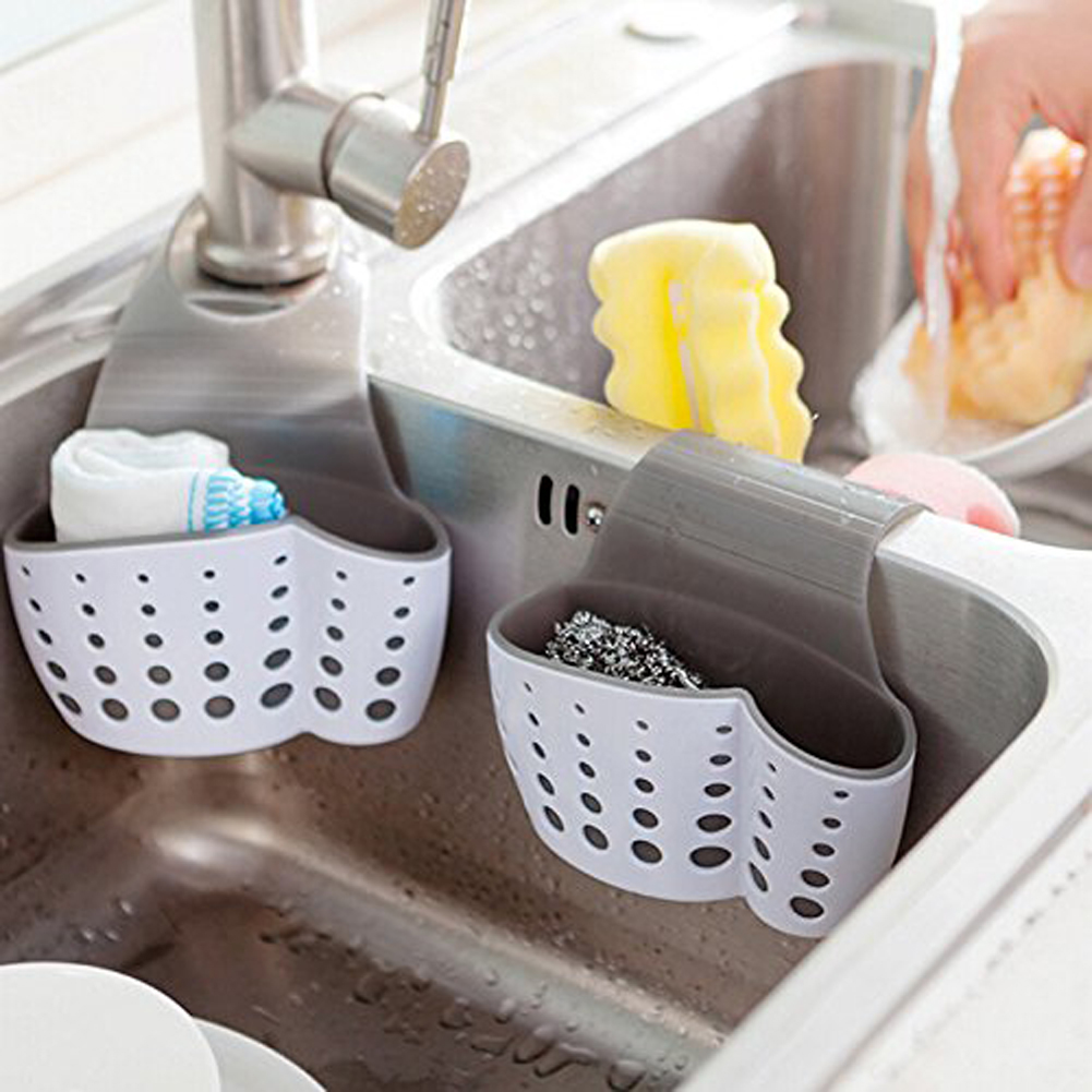 1Pcs Suction Cup Soap Sponge Drain Rack Kitchen Sink Shelf Holder Drain Hanging Basket Sink Bathroom Storage Organizer