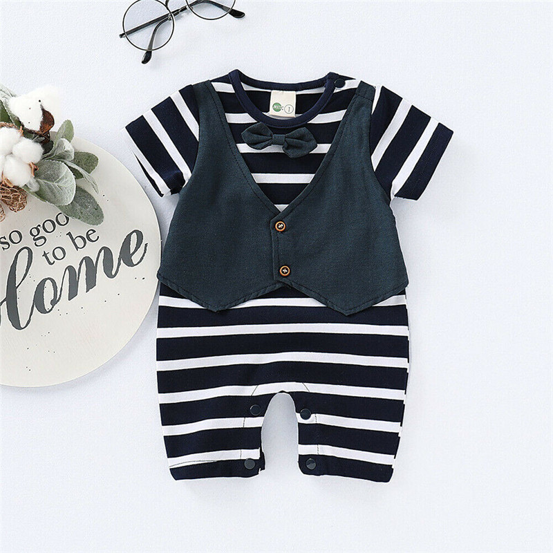 Black MTSCE Baby Boys Romper Suits Gentleman Bow Tie Long Sleeve Toddler Jumpsuits with Hat