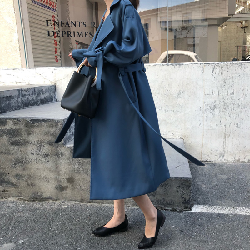New Spring Autumn Fashion Casual Women'S Blue   Trench   Coat Long Outerwear Loose Clothes For Lady Belted Korean   Trench   Femme 2018