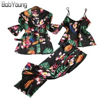 BabYoung New Women Pajamas Set 3PCS Long Sleeve Flower Print Silk Satin Sexy Camisole Robe Night Wear Gown Pants Pyjama Femme