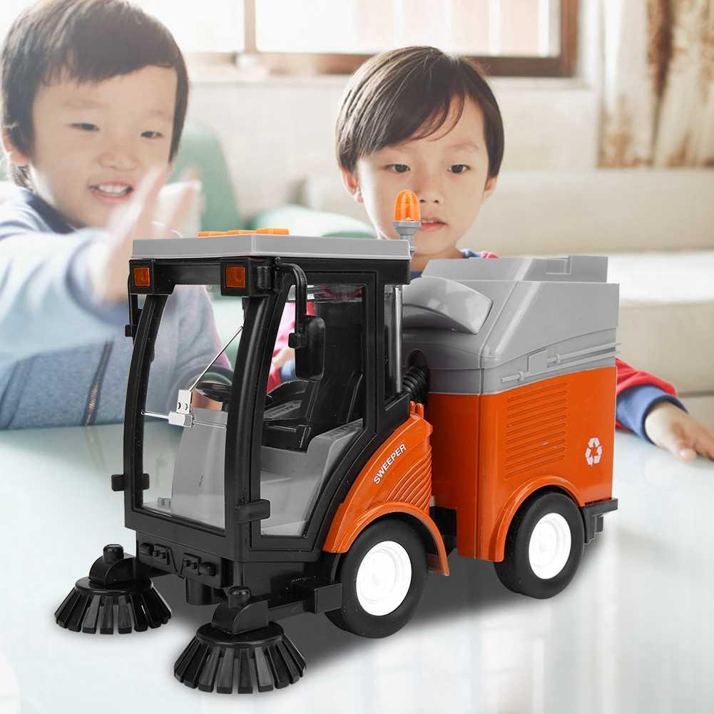 Симулятор автомобиль для уборки дорог игрушка Мусоровоз санитарное удаление уличного автомобиля Модель света музыка откатной автомобиль раннее образование