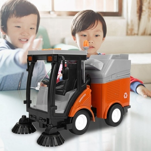 Image 3 - Simulation Road Sweeper Car Toy Garbage Truck Sanitation Disposal Streetcar Model Light Music Pull back Vehicle Early Education