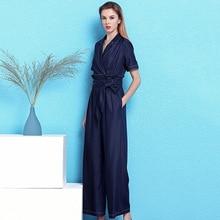 Nordic winds style denim jumpsuit Summer fashion turndown collar short sleeve wide legged sashes waist women NW19B6065