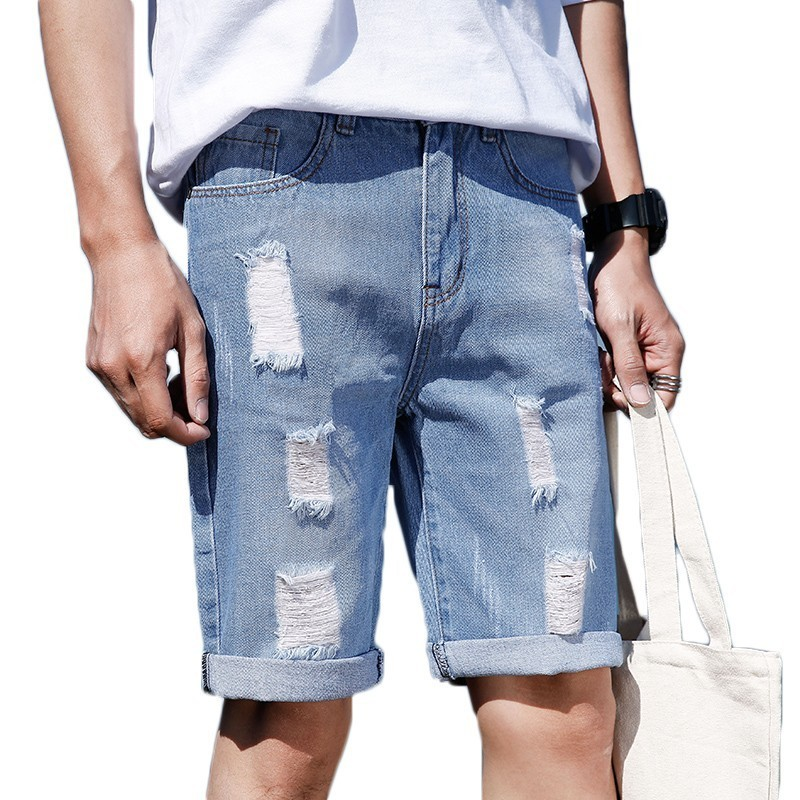 Hole Jeans Short Stretch Slim-Fit Elastic Male High-Quality Fashion Men Denim Summer