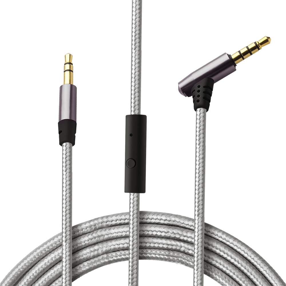 CLAITE 3.5mm AUX Cable Male To Male Jack Audio Cable 1M Cord W/ In-line Remote & Microphone For Headphones