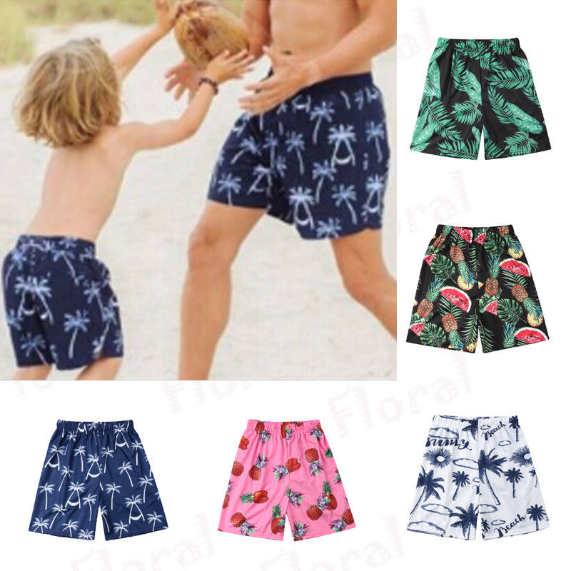 Men Printed Pineapple Swimming Board Shorts Trunks Swimwear Summer Boys Parent-child Beachwear Bathing Suit Swim Shorts