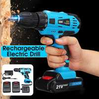 Hot 21V Max Electric Screwdriver Cordless Drill Mini Wireless Power Driver DC Lithium Ion Battery Electric Drill With 2 Speed