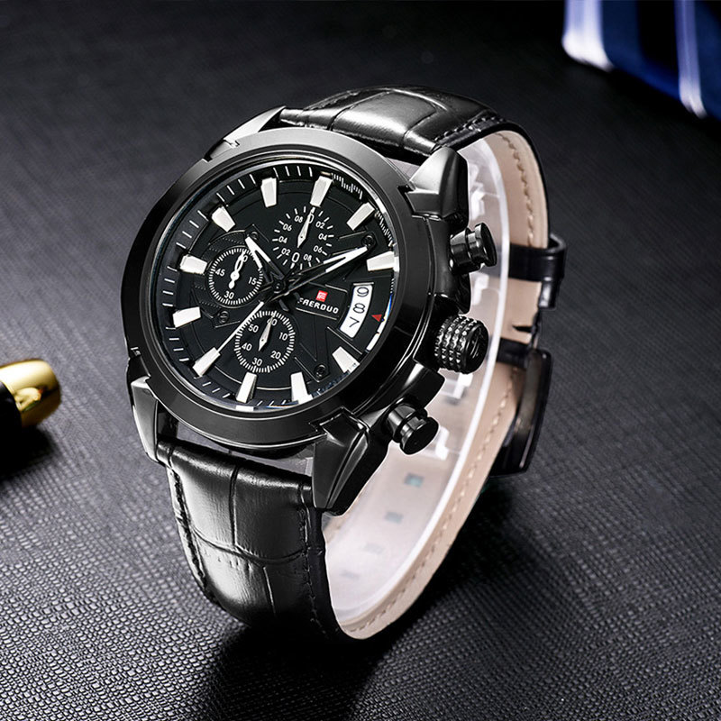 FAERDUO Black Fashion Mens Watches Quartz Leather Chronograph Army Watch Men Sport Watch Military Men 39 s Wristwatch Clock Relogio in Quartz Watches from Watches