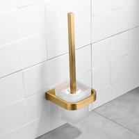Square Toilet Brush Holder Brushed Gold Finish Bathroom Cleaning Holder Stainless Steel Holder with Glass Cup