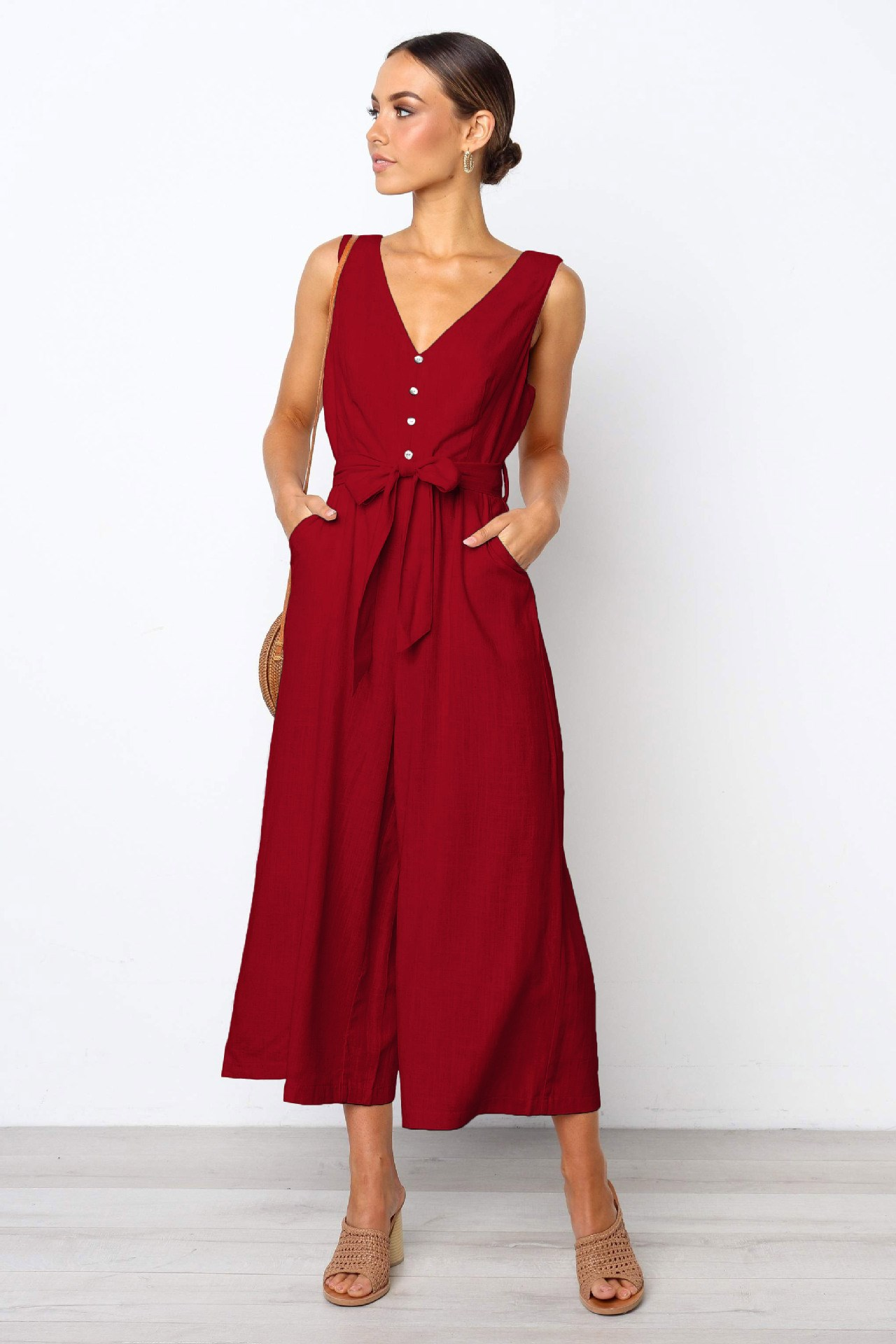 2019 Summer Casual Women Jumpsuits Beach Solid Red Jumpsuit Female Wide Leg Bow Romper