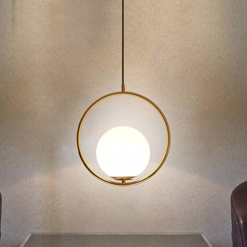 Modern Pendant Lights For Dining Living Room Black Golden Glass Ball Hanging Lamp Home Lighting Fixtures