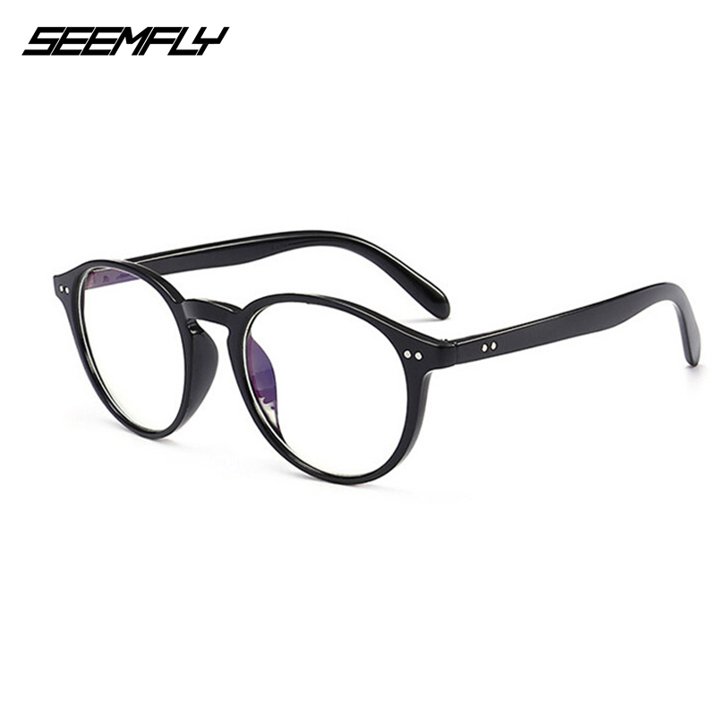 Seemfly Retro Round Frame Reading Glasses Clear Lens Presbyopic Fashion Leopard Eyewear Men Women Ultralight Eyeglasses Unisex