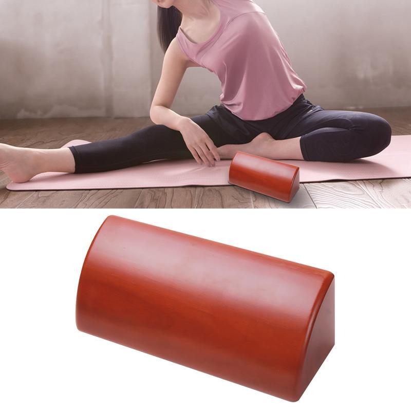 Yoga Brique En Bois Massif Courbé Trimestre Rouleau Premium Entraînement Semi-Circulaire Brique Parfait Massage Yoga Stretching