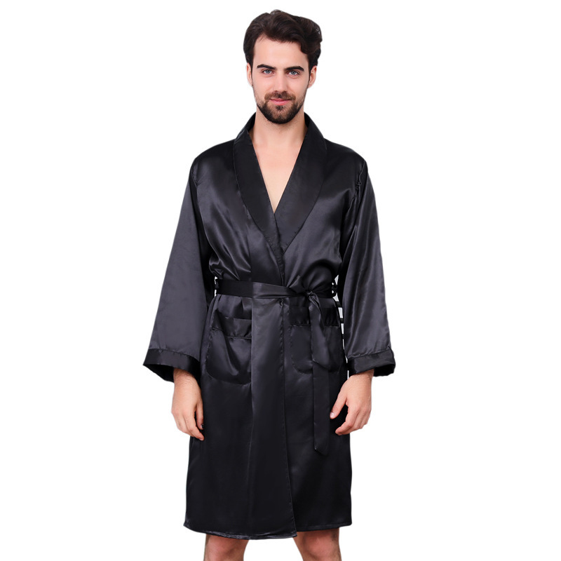 Mens Dressing Gown Man Single Paper Silk Robe Thin Section Long Sleeve Pajamas Enlarge Code Pure Black Bathrobe Men