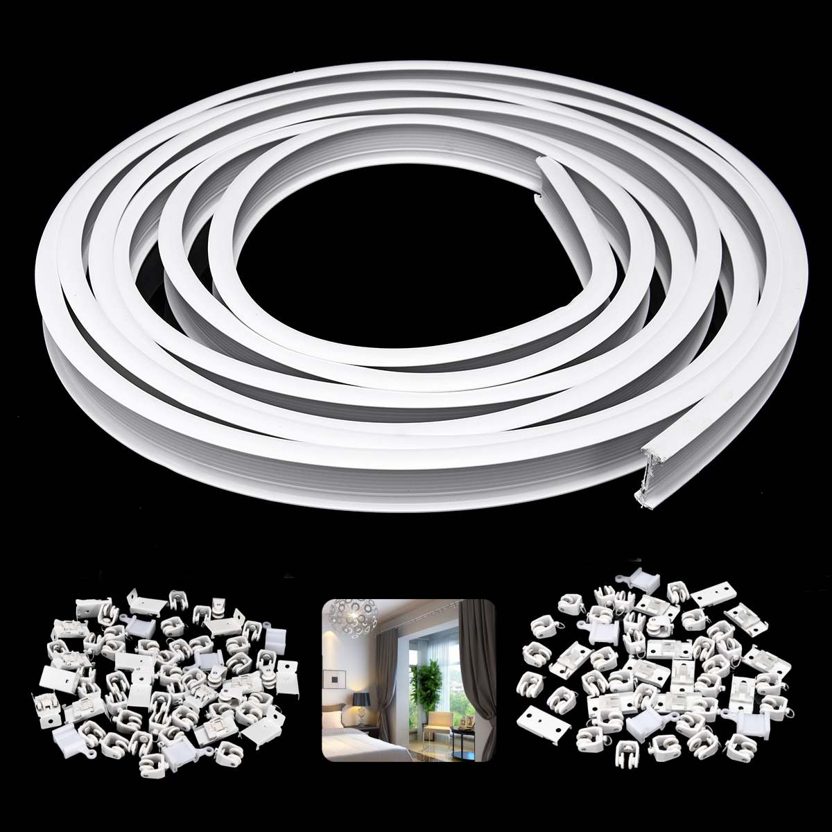 Ceiling Mounted Flexible Curtain Track: 1m Flexible Ceiling Mounted Curtain Track Rail Straight