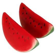 Gresorth 2pcs Artificial Lifelike Simulation Watermelon Slice Fake Fruit Toy for Home House Party Kitchen Decoration