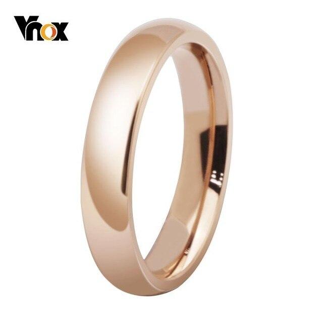 Vnox Basic 585 Rose Gold Wedding Rings for Women High Polished 4MM Stainless Steel Female Alliance