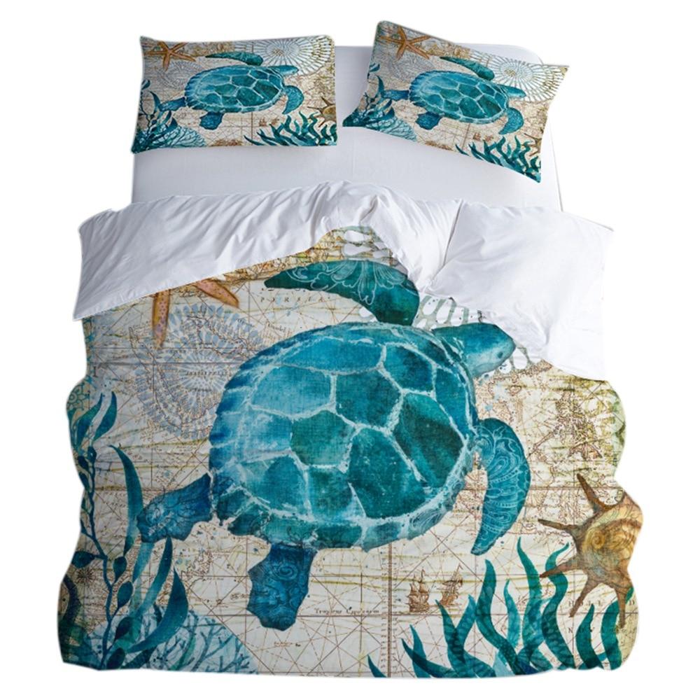IALJ Top housse de couette lot de 3 ensembles de Polyester doux et respirant, Textile maison algue tortue imprimé literie dont 1 Qui