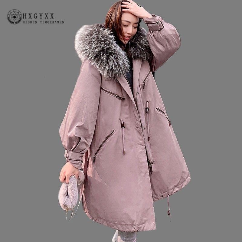 Big Fur Collar Warm White Duck Feather   Coat   Long Winter Jacket Women   Down   Military Parka 2019 Plus Size Loose Outerwear Okd733