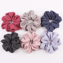 1Pc Elastic Scrunchie Plaid 2019 New Pink Sweet Ponytail Holder Hair Rope Ties Dark Blue Hot Sale Fashion Net Plaid Hair Ring(China)