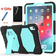 купить For New iPad Pro 11 inch (2018) Tablet Model A1980 Shockproof Hard case Military Heavy Duty Silicone+PC Rugged Stand Cover+Film онлайн