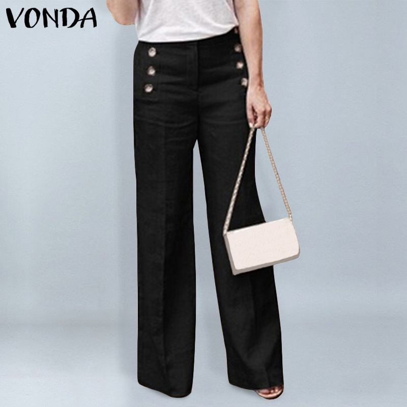 VONDA Fashion Wide Leg Pants Female 2019 Spring Autumn Office Ladies Pants Women Casual Buttons Zipper Trousers Plus Size Bottom