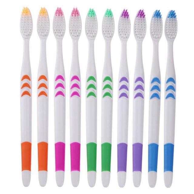 10 unids/pack doble Ultra suave cepillo de dientes de goma Nano cerdas de cepillo de dientes Dental Cuidado Oral Personal los dientes de los cepillos conjunto