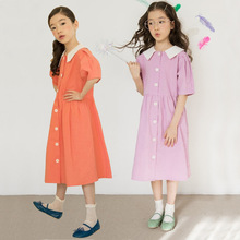 Sweet girls dress summer vintage cotton long princess dresses teenage kids party frocks children back to school clothes age 4~16 2018 back to school fall baby girls kids boutique clothes children stripe dress long sleeve apple cotton tops match accessories