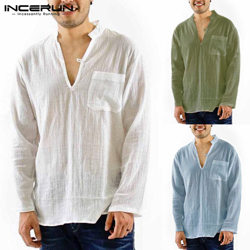 Brand Beach Casual Mens Shirts Cotton Linen Slim Fit Pockets Mandarin Collar White Tee Tops Autumn Camisa Blouse Chemise Hombre