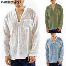 Mens Shirts Blouse Beach Tee-Tops Camisa Chemise Pockets Mandarin-Collar Linen Slim-Fit
