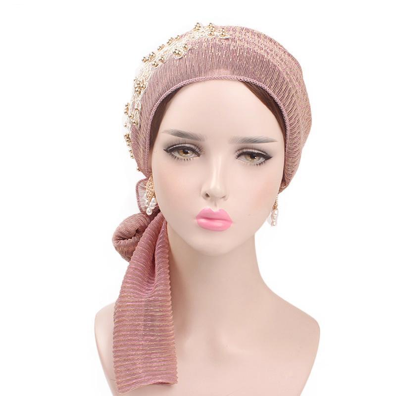 Image 2 - Women Muslim Stretch Turban Lace Flower Long Tail Hijab Scarf Cap  Elegant Bandanas Embroidery Bead Cancer Chemo Head Wrap ScarfIslamic  Clothing