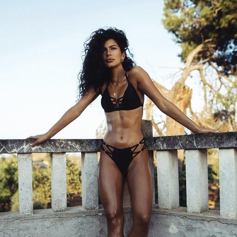 2020 Sexy Solid Black Bikini String Bikini Set Halter Swimsuit Backless Bathing Suit Women Brazilian Biquini Push Up Swimwear 2