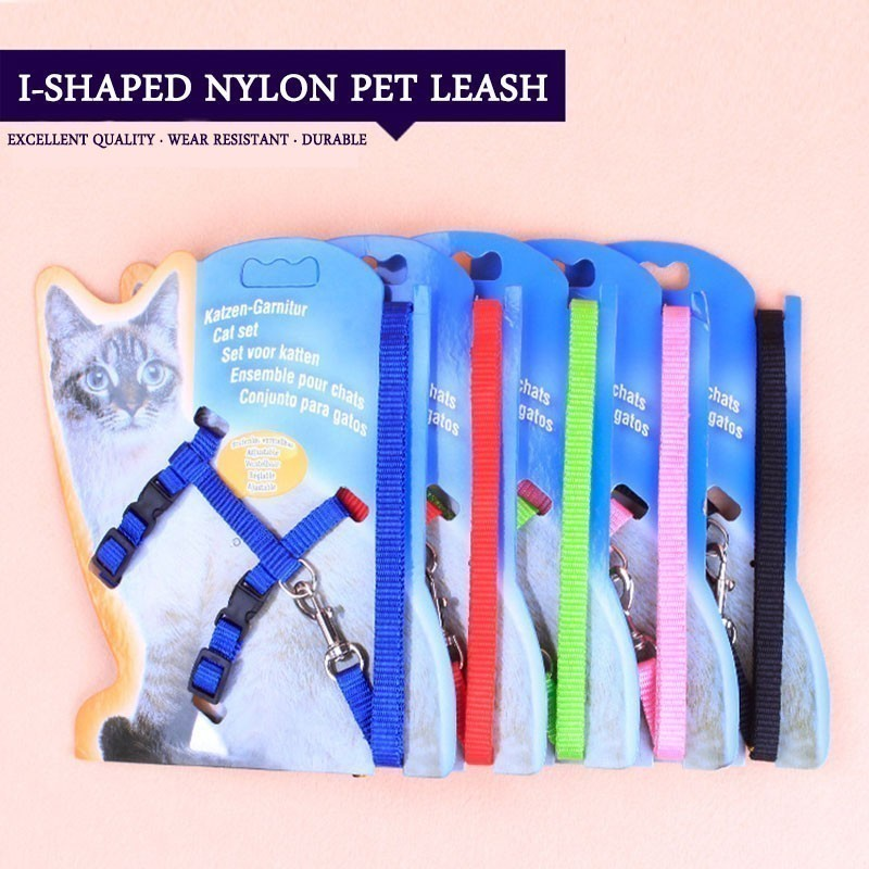 Concise Solid I shaped Small Dog Leash Pitbull Adjustable Nylon Puppy Harness Vest Beagle Pet Accessories Cats Products For Pets in Harnesses from Home Garden